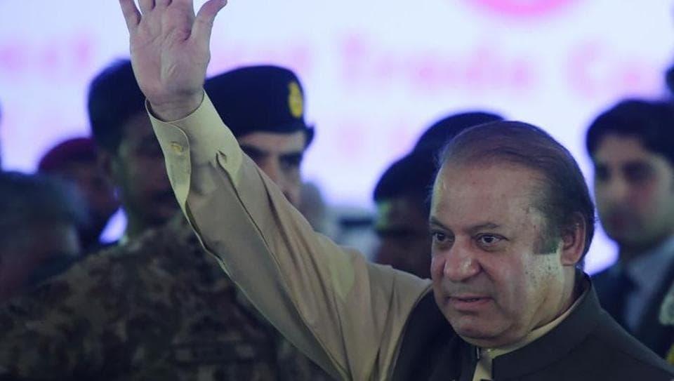 File photo of Pakistan Prime Minister Nawaz Sharif waving during a ceremony in Gwadar port, 700 km west of Karachi, in November 2016.