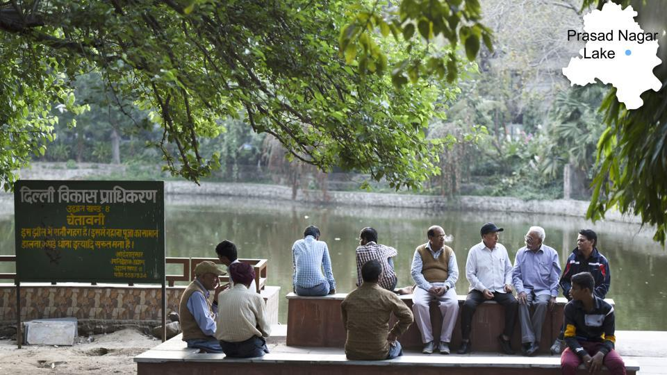 Prasad Nagar Lake Park also known as Jheel Park is located in Patel Nagar of West Delhi. In July, the Delhi Jal Board had announced reclamation of around 100 such water bodies. Nothing substantial, however, has happened ever since. (Arun Sharma/HT PHOTO)
