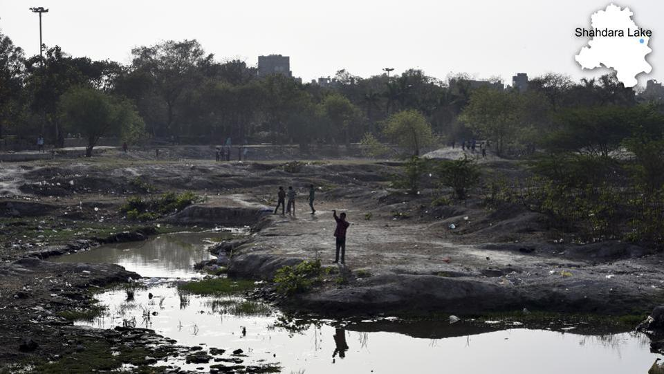 An area around the Shahdara lake, which has been turned into a garbage dump over the years, in East Delhi. Although some water bodies have dried up, in many places, parks have come up. Others have been converted into dumping sites. (Arun Sharma/HT PHOTO)