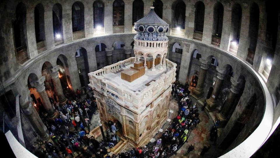 The Church of the Holy Sepulchre in the Old City of Jerusalem shows the renovated Edicule of the Tomb of Jesus (where his body is believed to have been laid). The tomb was unveiled again following nine months of restoration work, highlighted at a much anticipated ceremony on March 22. The shrine, which includes a 19th-century ornate edicule or shrine surrounding the tomb, is a key part of the Church in Jerusalem's Old City.  (Thomas Coex/AFP)