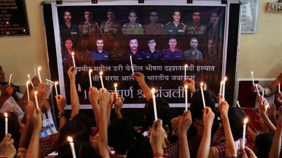 School students pay tributes to army soldiers killed in the Uri terror attack, in Thane. An NIA report concludes that it was the LeT and not the Jaish which was involved in the attack.