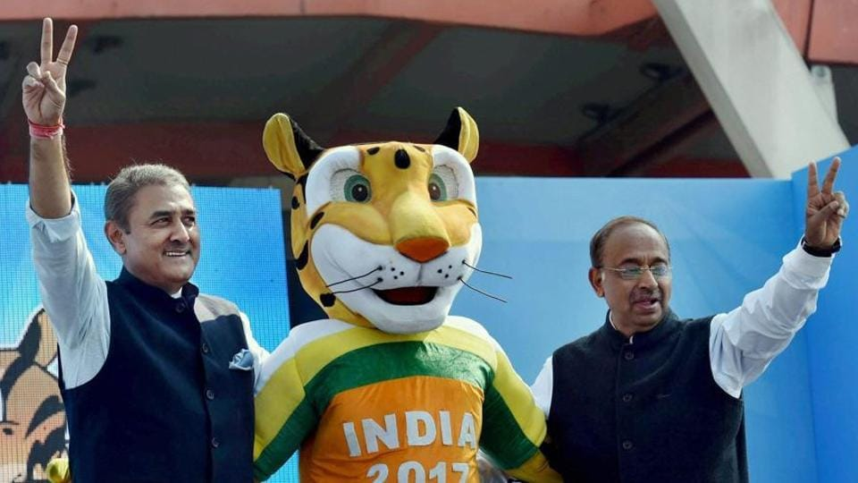 Union Sports Minister Vijay Goyal (right) with All India Football Federation (AIFF) president Praful Patel during the launch of the U-17 FIFA World Cup mascot Kheleo, in New Delhi.