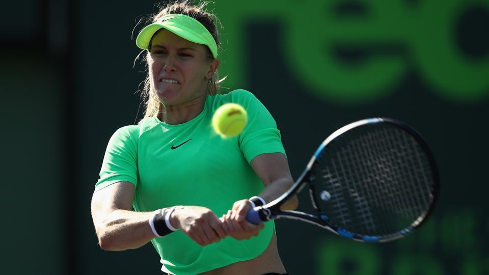 Eugenie Bouchard in action against Ashleigh Barty at the Miami Open.