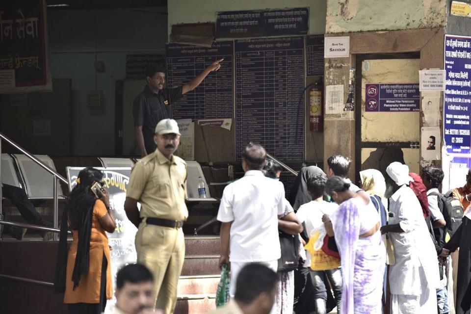 Patients outside a Mumbai hospital onThursday.
