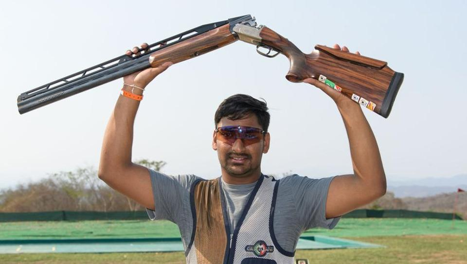 Ankur Mittal celebrates after winning the gold medal in double trap at ISSF World Cup.