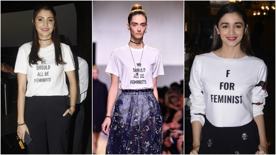 Tees with feminist slogans are a hit both on the runway and off it too.