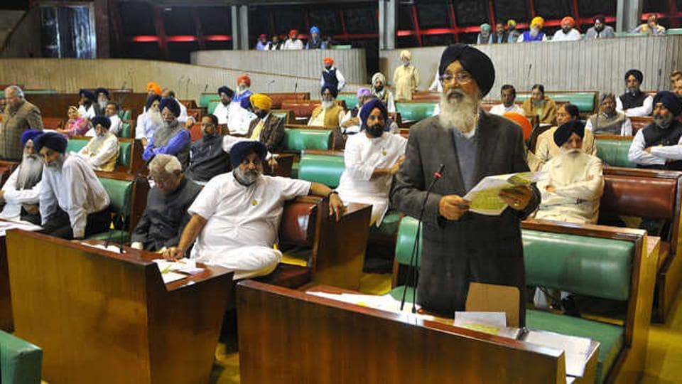 The then CM of Punjab, Parkash Singh Badal, speaks during a session of the 14th Vidhan Sabha (2012-17).