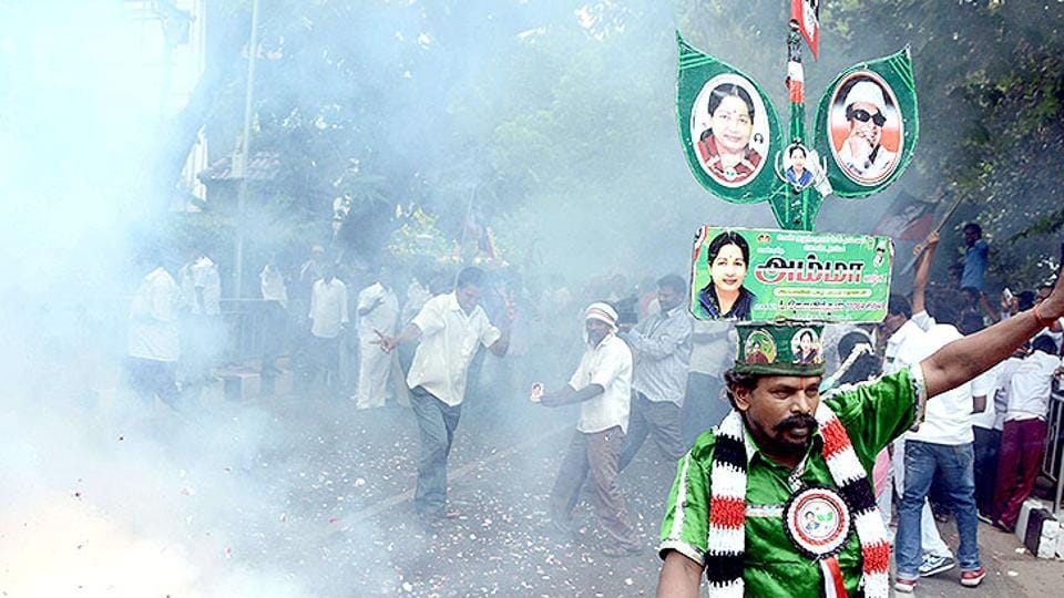 AIADMK party cadres outside Jayalalithaa's residence in Chennai.