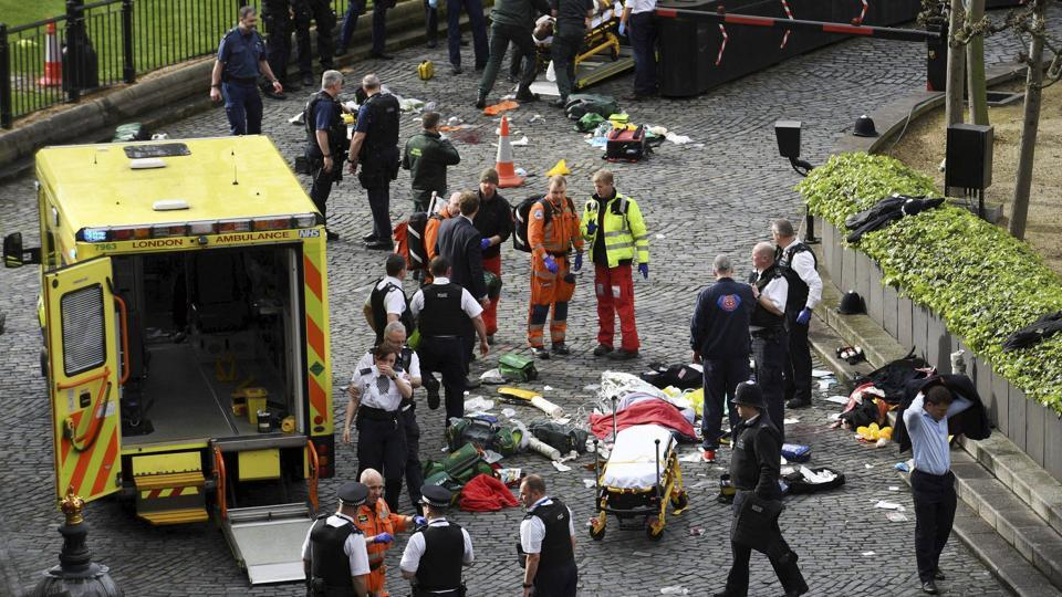 Emergency services at the scene outside the Palace of Westminster, London, on March 22, 2017.