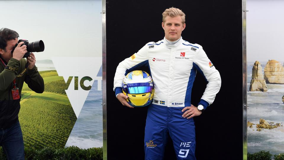 Sauber F1 team's Swedish driver Marcus Ericsson got the dapper driver of the photoshoot award (just kidding). (AFP)