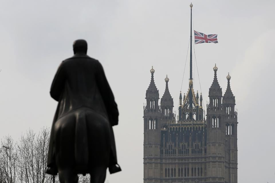 The Union Jack flies at half mast from the Houses of Parliament on Thursday in light of the previous day's terror attack.