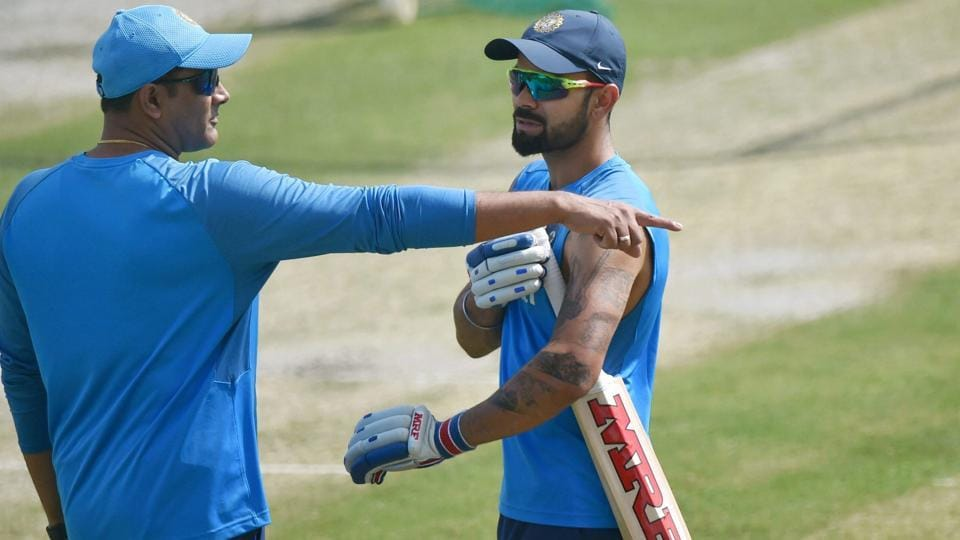 India cricket team skipper Virat Kohli and coach Anil Kumble have a chat during nets session in Dharamsala on Thursday, ahead of the fourth Test vs Australia cricket team which begins on Saturday.