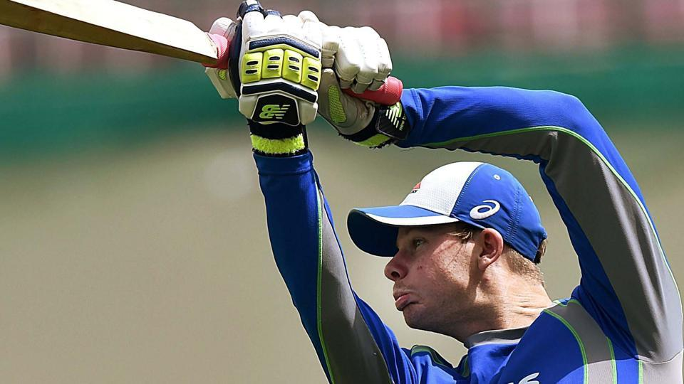 Australian cricket captain Steve Smith bats during a practice session ahead of the last test match against India. (PTI)