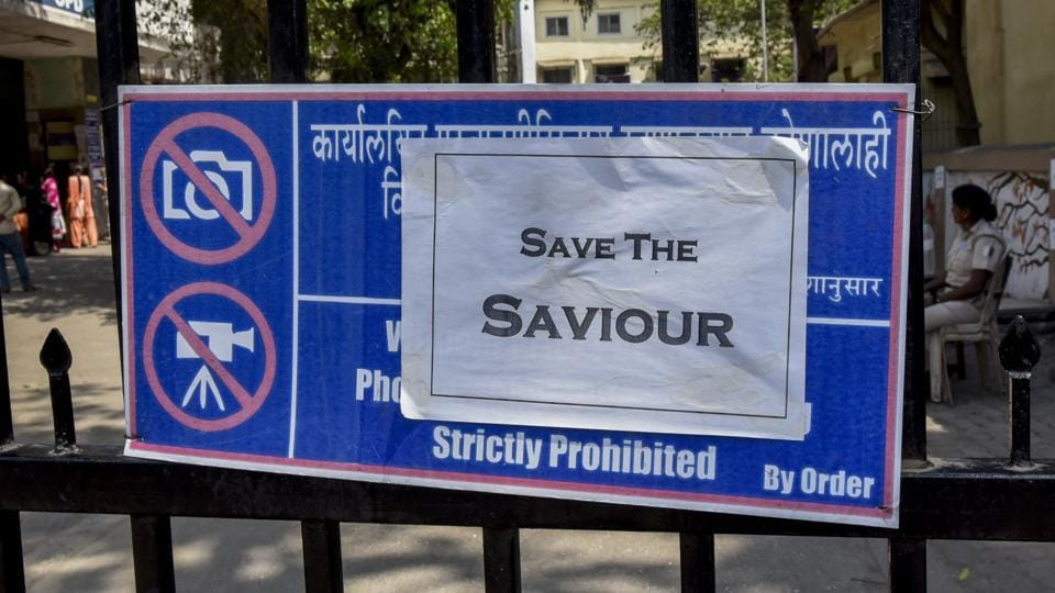 Doctors' message pasted on the gate of Sion hospital in Mumbai on Wednesday.