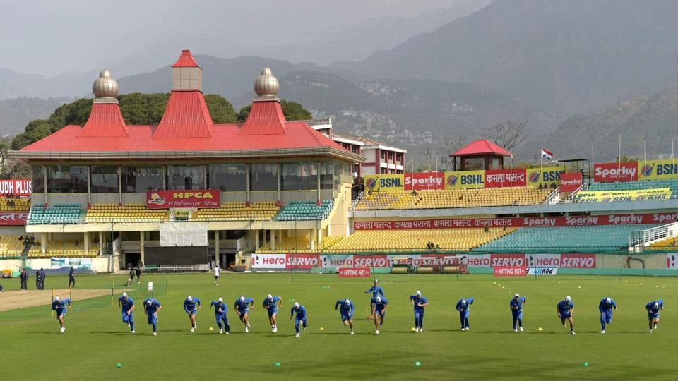 Australian cricket team during a practice session ahead of the 4th test match against India at HPCA Stadium in Dharamsala. (PTI)