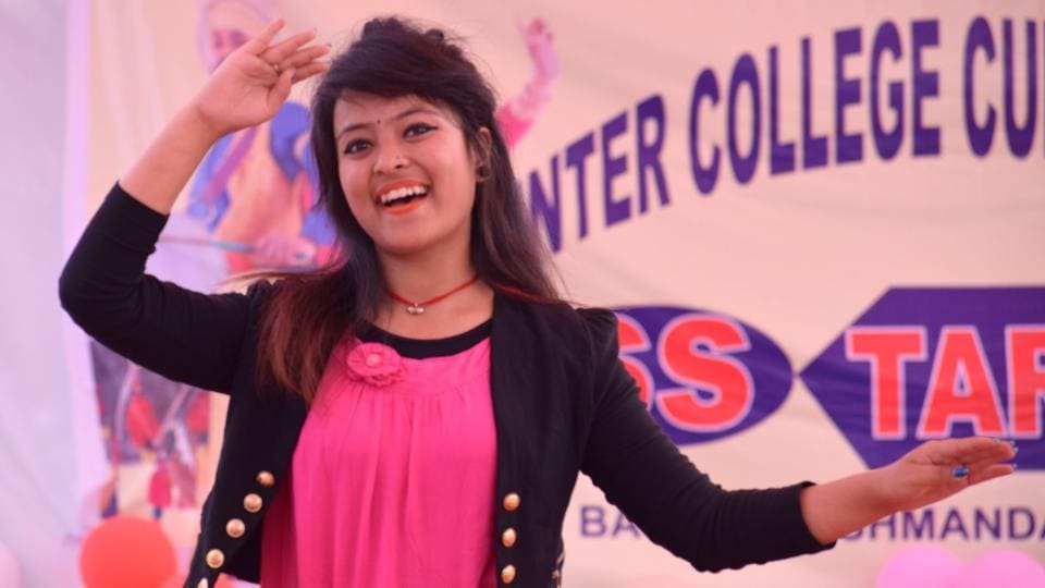 A female student performing during the inter college cultural fest at Saint Soldier College, in Jalandhar. (Sikander Singh Chopra/Hindustan Times )