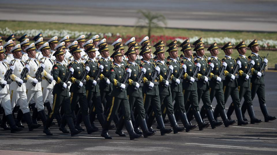 Chinese troops march during a Pakistan Day military parade in Islamabad on March 23. Pakistan National Day commemorates the passing of the Lahore Resolution, when a separate nation for the Muslims of the British Indian Empire was demanded.