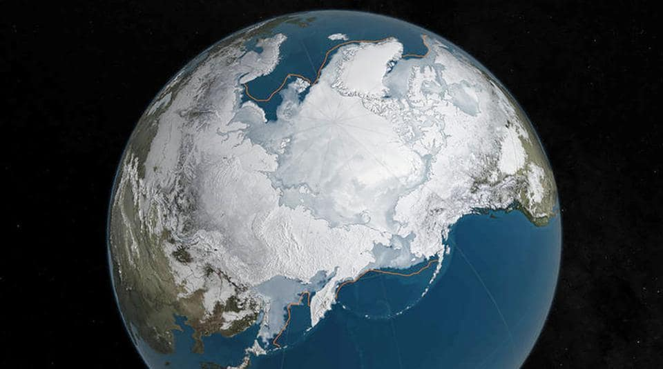 An undated NASA illustration shows Arctic sea ice at a record low wintertime maximum extent for the second straight year, according to scientists at the NASA-supported National Snow and Ice Data Center (NSIDC) and NASA.