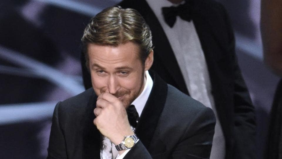 Ryan Gosling reacts as Moonlight is announced as the actual winner of best picture at the Oscars in Los Angeles.