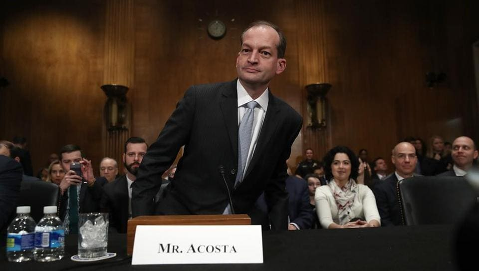 Labor secretary nominee Alexander Acosta appears for his testimony before the Senate Health, Education, Labor and Pensions Committee during his confirmation hearing on Wednesday.