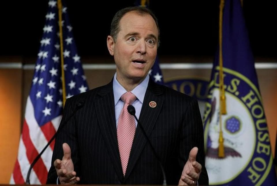 House intelligence committee ranking Democrat Adam Schiff during news conference at the US Capitol in Washington.