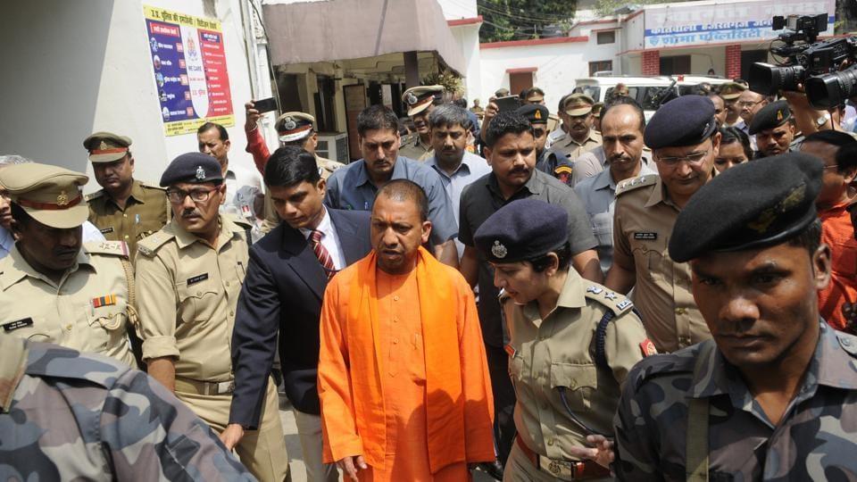 CMAditya Nath Yogi during a surprise inspection at Hazratganj police station.
