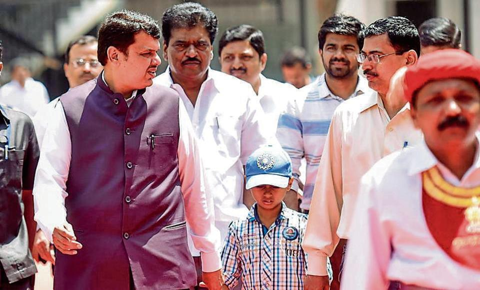 Chief minister Devendra Fadnavis  outside Vidhan Bhavan on Thursday.