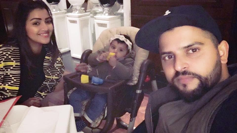 Suresh Raina and wife Priyanka with their daughter. Raina was recently excluded from BCCI central contracts list.