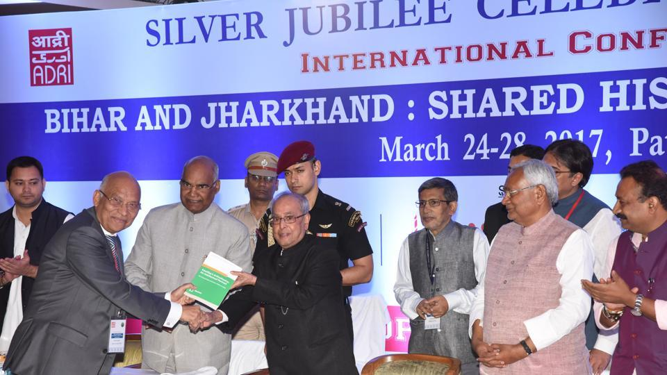 President Pranab Mukherjee at the inaugural session of international conference in Patna on Friday.