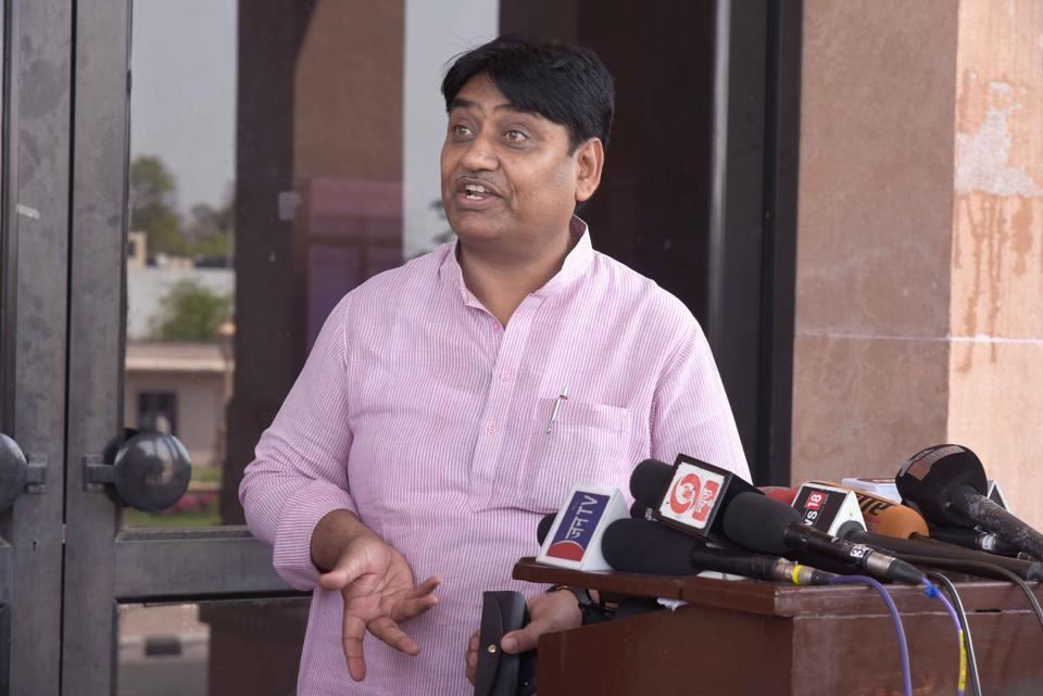 Congress Deputy Whip Govind Singh Dotasara addressing media persons  outside the assembly on Friday
