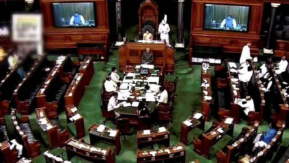 A view of the Lok Sabha in New Delhi.