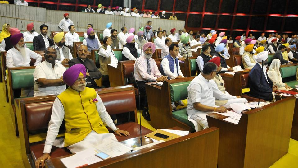 Minister Rana Gurjit Singh and other MLAs in the Punjab Vidhan Sabha in Chandigarh on Friday, March 24.