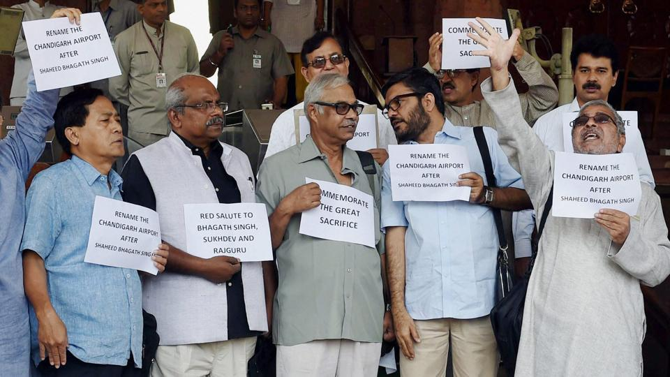 CPM members and AAP MP Dr Dharamvira Gandhi (second from right) staging a protest outside Parliament. Earlier, the Rajya Sabha witnessed uproar over naming of Chandigarh airport..