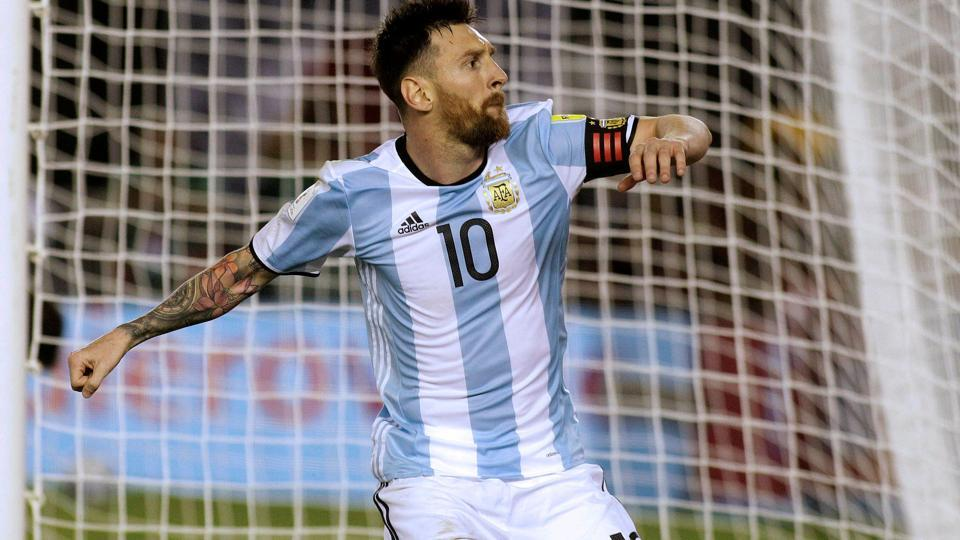 Lionel Messi reacts after scoring a goal for Argentina against Chile in a FIFA World Cup qualifier.
