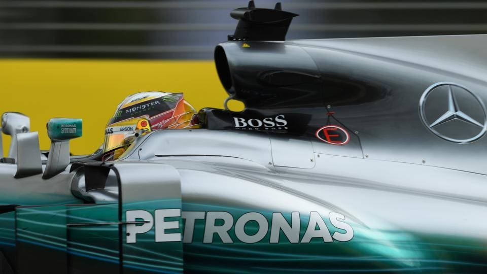 Mercedes driver Lewis Hamilton powers around the Albert Park circuit during the Formula One Australian Grand Prix free practice sessions in Melbourne on Friday