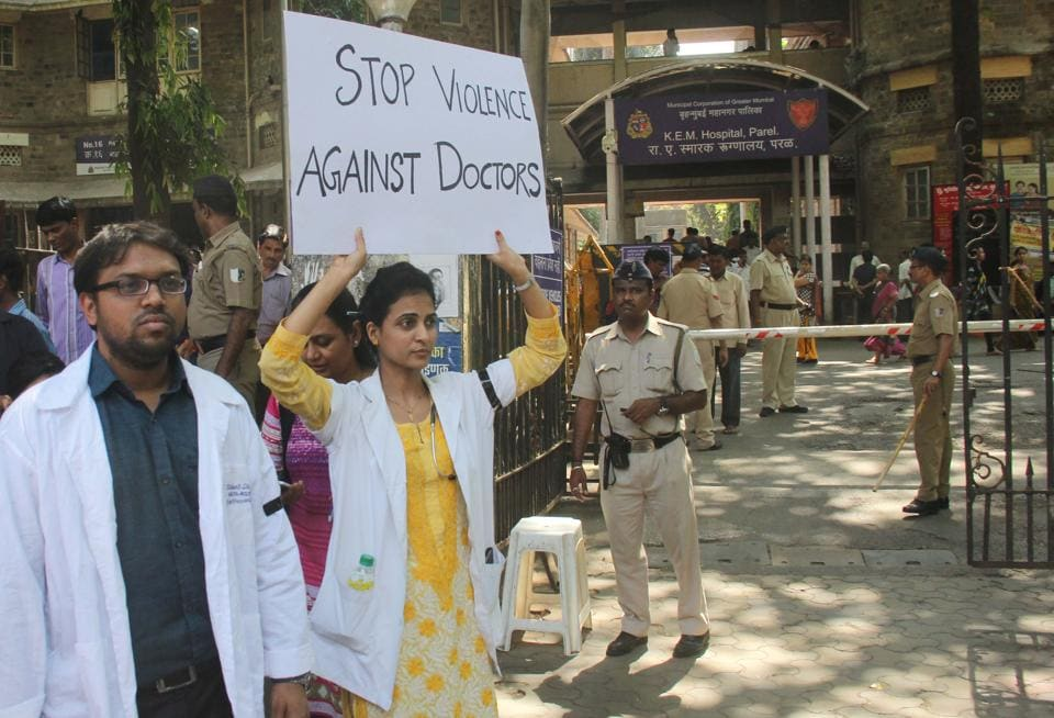 Resident doctors protest outside KEM hospital on Thursday.