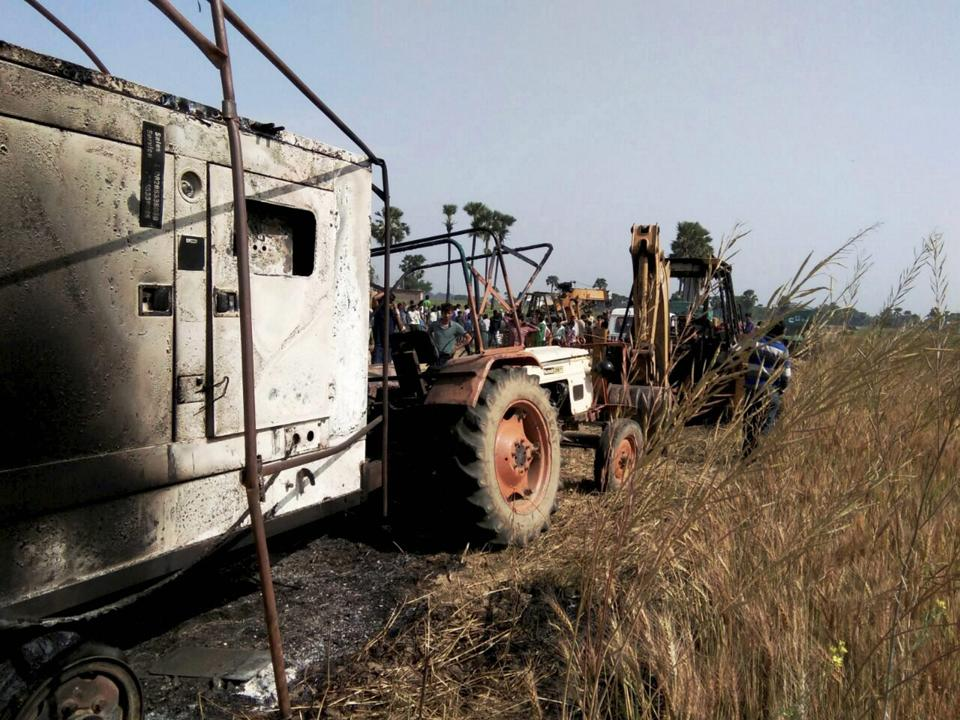 Charred agricultural vehicles which were burnt by the Maoists at Jayanagar village in Gaya district of Bihar.