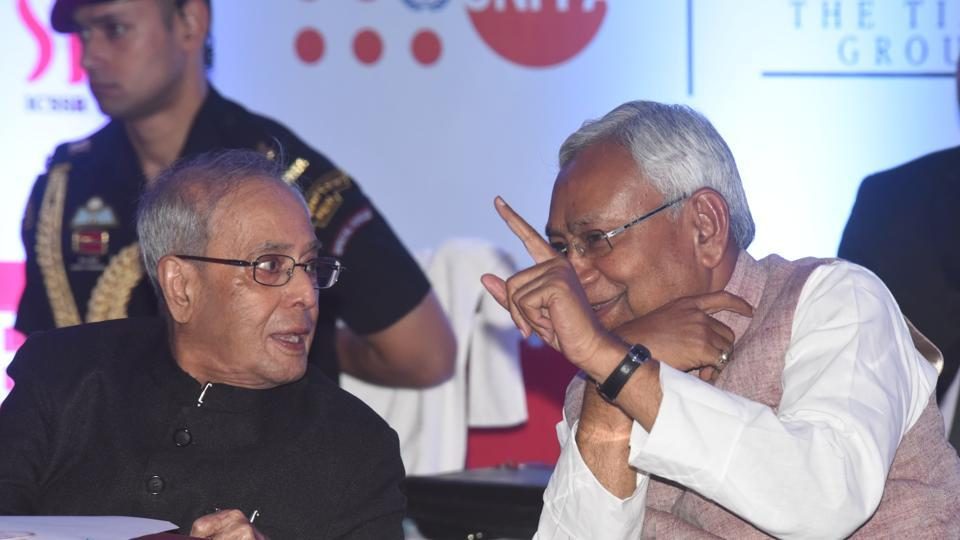President Pranab Mukherjee with chief minister Nitish Kumar at the ADRI session, in Patna on Friday.