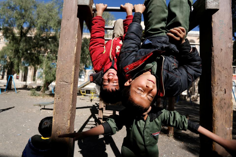 Boys play in a yard of an orphanage in Sanaa, Yemen. (REUTERS)