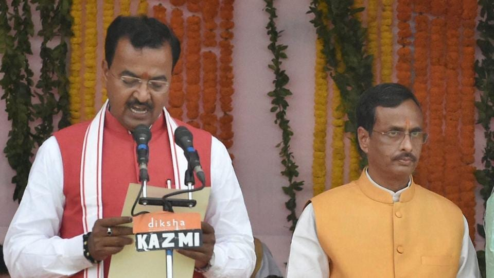 Keshav Prasad Maurya during the swearing-in ceremony in Lucknow.