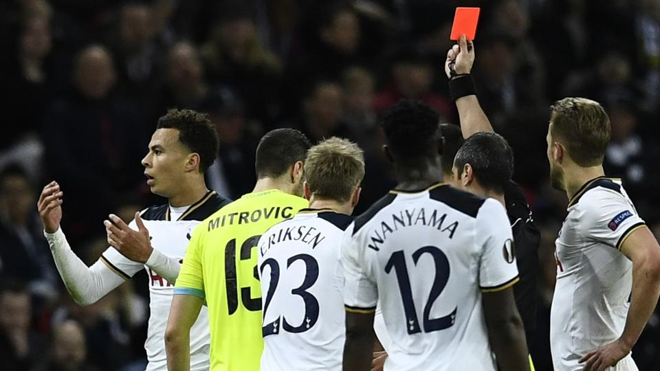Dele Alli received a straight red card during Tottenham Hotspur's match against Gent.