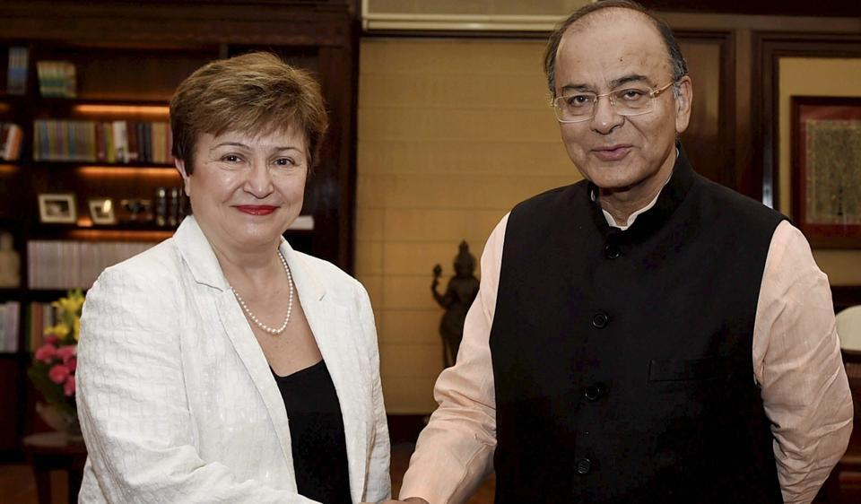 File photo of finance minister Arun Jaitley shaking hands with World Bank CEO Kristalina Georgieva at a meeting in New Delhi.