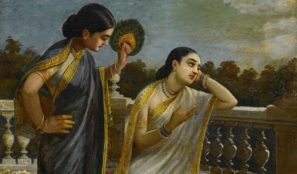 Note how a woman is the centre of his frame. Damayanti may be pining for her lost lover, Nala. But even in depicting the epics, with an aesthetic literally draped in tradition, Varma was surprisingly modern.