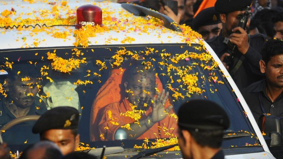 Adityanath, who is on a two-day tour to Gorakhpur, visited the city for the first time after taking charge as the Uttar Pradesh chief minister.