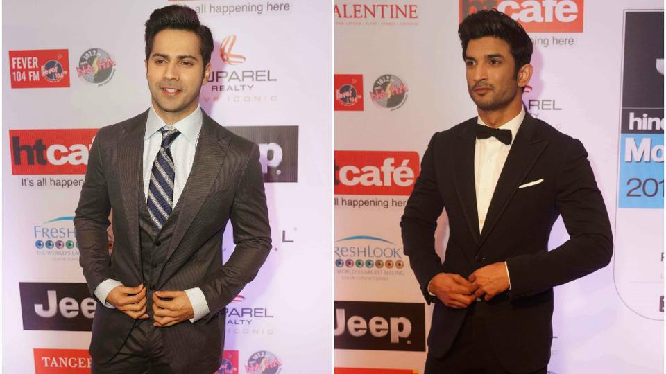 Varun Dahwan and Sushant Singh Rajput looked dapper in coats and ties.