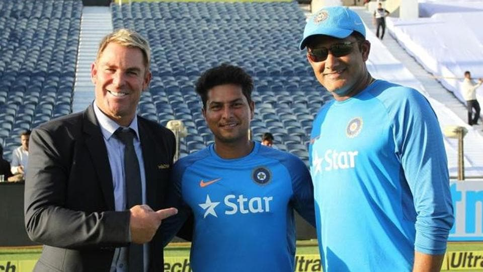 India cricket team's new spin sensation Kuldeep Yadav (centre) with his idols -- Australia cricket team great Shane Warne (left), and India coach Anil Kumble.