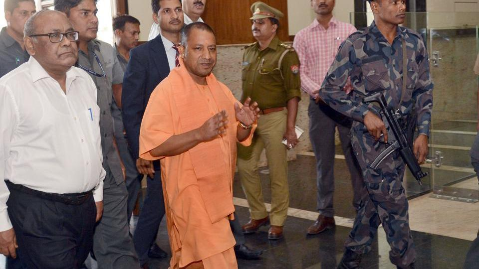 Uttar Pradesh chief minister Yogi Adityanath arriving at the Lok Bhavan for his first meeting after assuming office in Lucknow on Monday, March 20, 2017