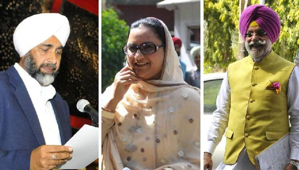 IN POWER CORRIDORS: (From left) Punjab finance minister Manpreet Singh Badal taking oath as an MLA; and his cabinet colleagues Razia Sultana and Rana Gurjit Singh arriving on the first day of the Vidhan Sabha session in Chandigarh on Friday.