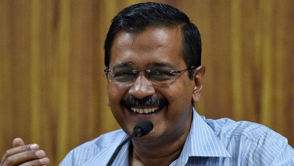 Chief minister Arvind Kejriwal during the press conference at his residence in New Delhi on Saturday.