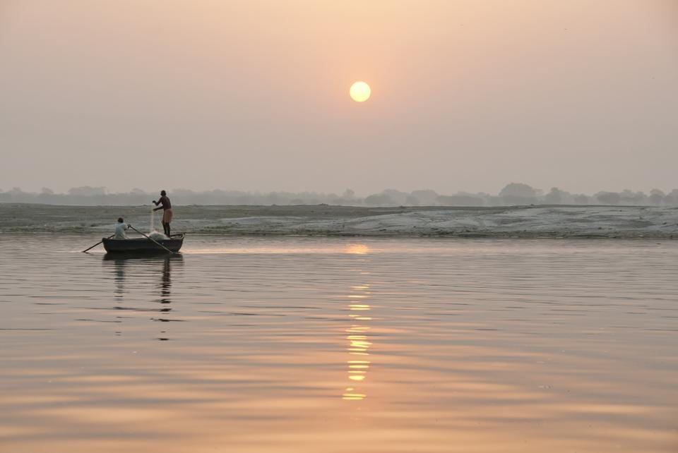 A view of the Ganga at sunrise. Jagannath Pandit is still remember for his  Ganga Leheri